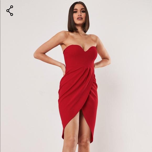 Missguided Dresses & Skirts - Bandeau wrap bodycon midi dress